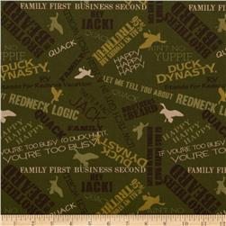 Duck Dynasty Sayings Brown Fabric