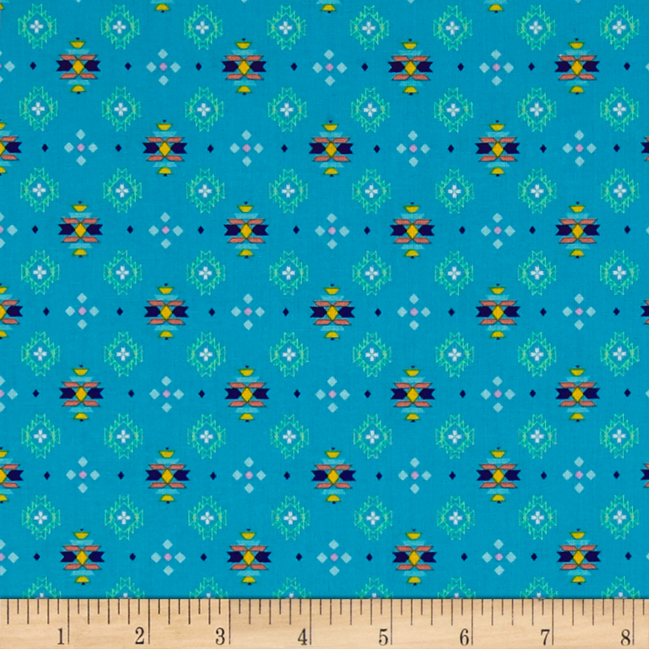 Pow Wow Small Aztec Print Medium Turquoise Fabric 0512799