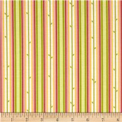 Moda Chantilly Stem Stripe Field/Poppy