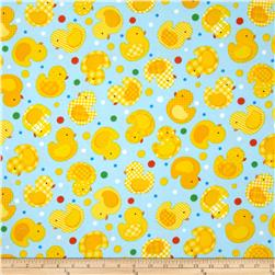 Timeless Treasures Flannel Duckies Sky Fabric