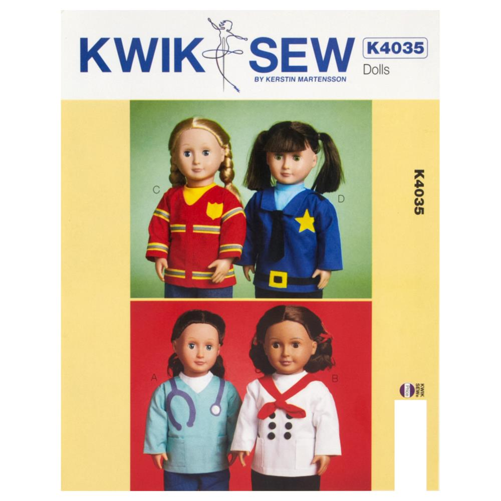 "Kwik Sew Dolls Tops for 18"" Dolls Pattern"