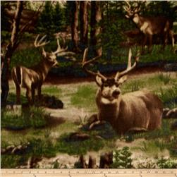 Polar Fleece Print Deer & Forest Green
