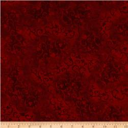 "108"" Wide Essentials Quilt Backing Scroll Red"