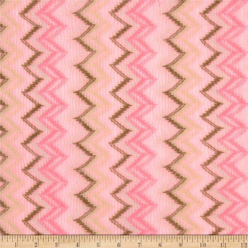 Stretch Acrylic Sweater Knit Chevron Pink/Brown