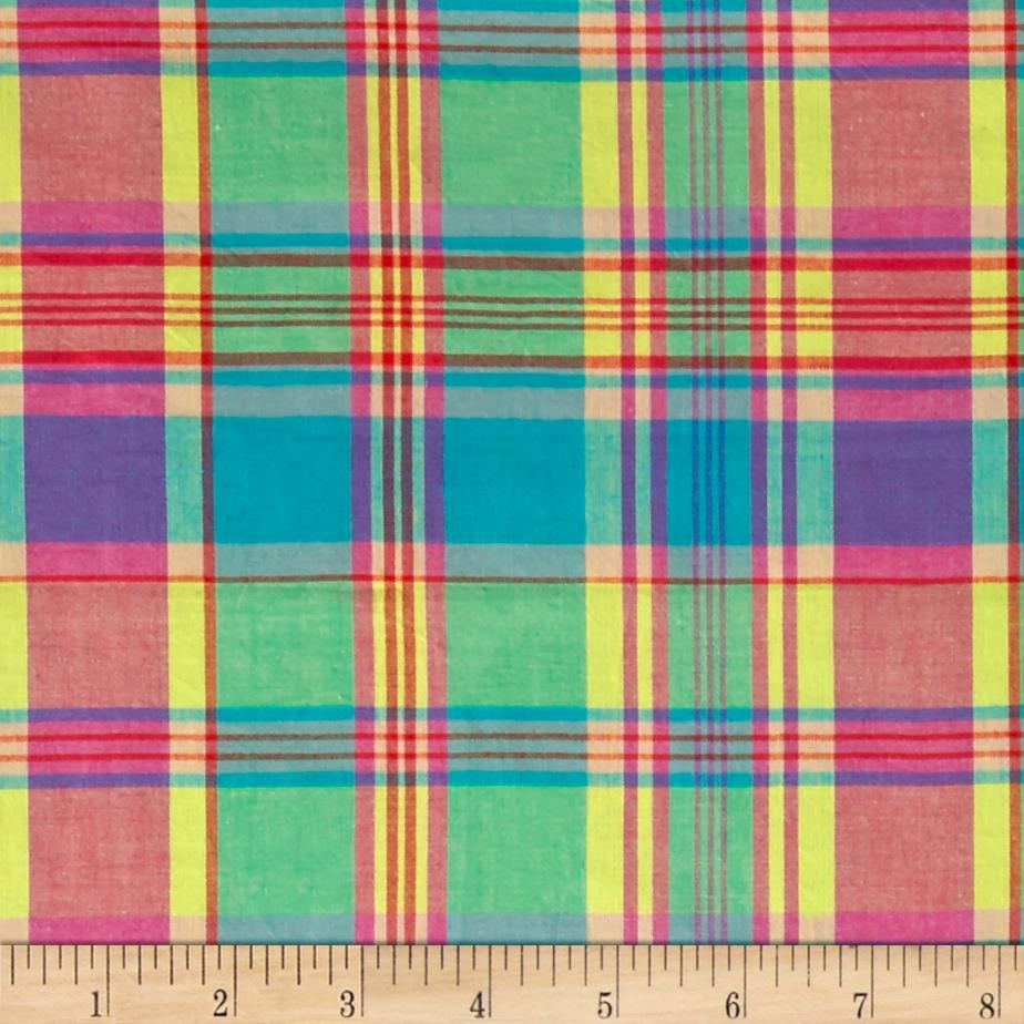 cotton plaid madras shirting blue orange red discount designer fabric. Black Bedroom Furniture Sets. Home Design Ideas
