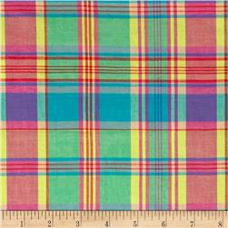 Cotton Plaid Madras Shirting Blue/Orange/Red