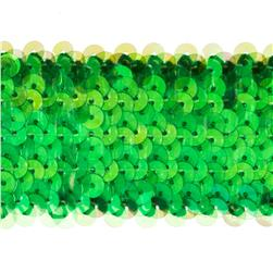 "1 3/4"" Metallic Stretch Sequin Trim Green Aurora Borealis"
