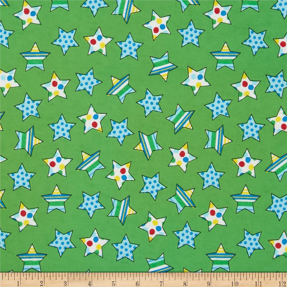 Flannel Novelties Tossed Stars Green