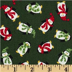 Christmas Mini Penguins Green Fabric