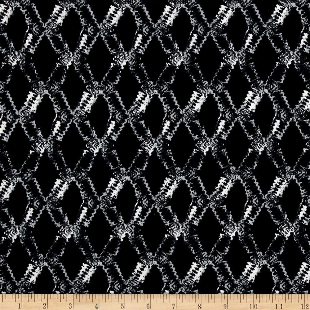 Stretch ITY Knit Abstract Diamonds Black