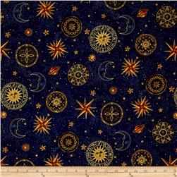 Star Gazing Metallic Moons And Stars Navy/Gold