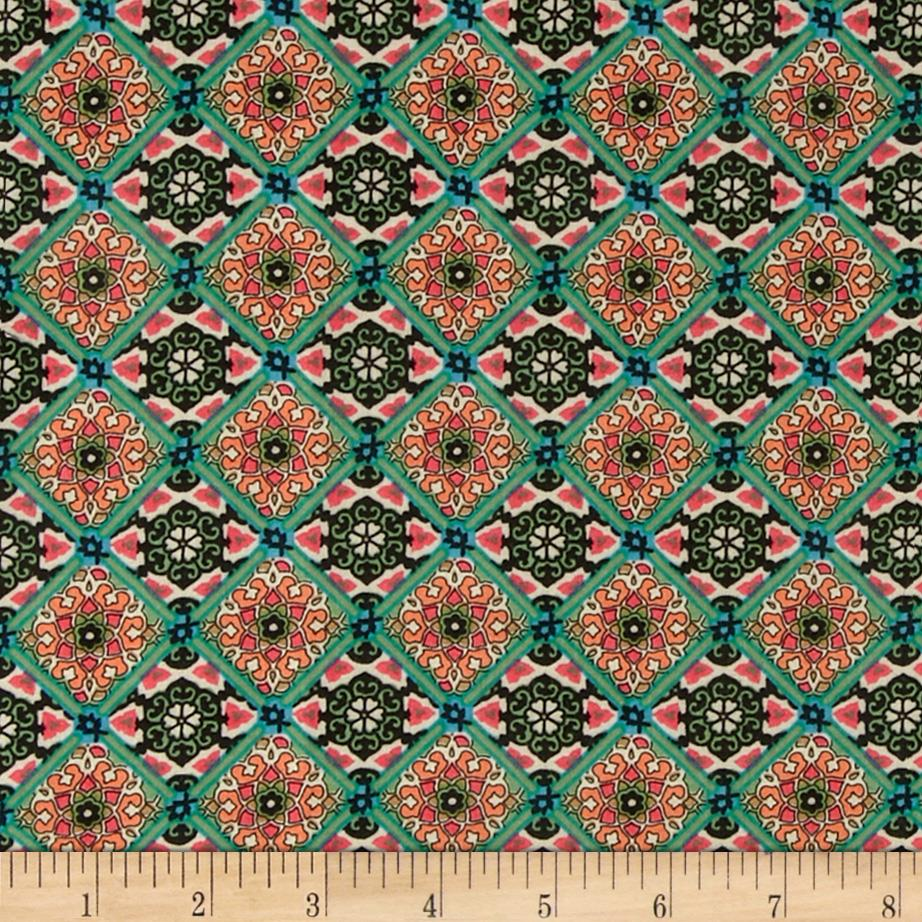 Rayon Voile Tile Green/Black
