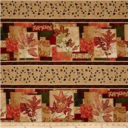 Autumn Treasures Border Stripe Metallic Multi