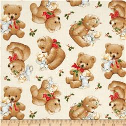 Christmas Angels Metallic Teddy Bear Cream