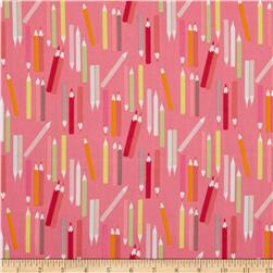 My World of Smiles My Pencils Pink/Sorbet Fabric