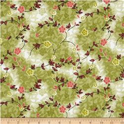 Madeline Shirting Floral Vines Red/Green