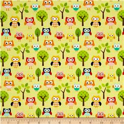 Riley Blake Lazy Day Lazy Owls Yellow