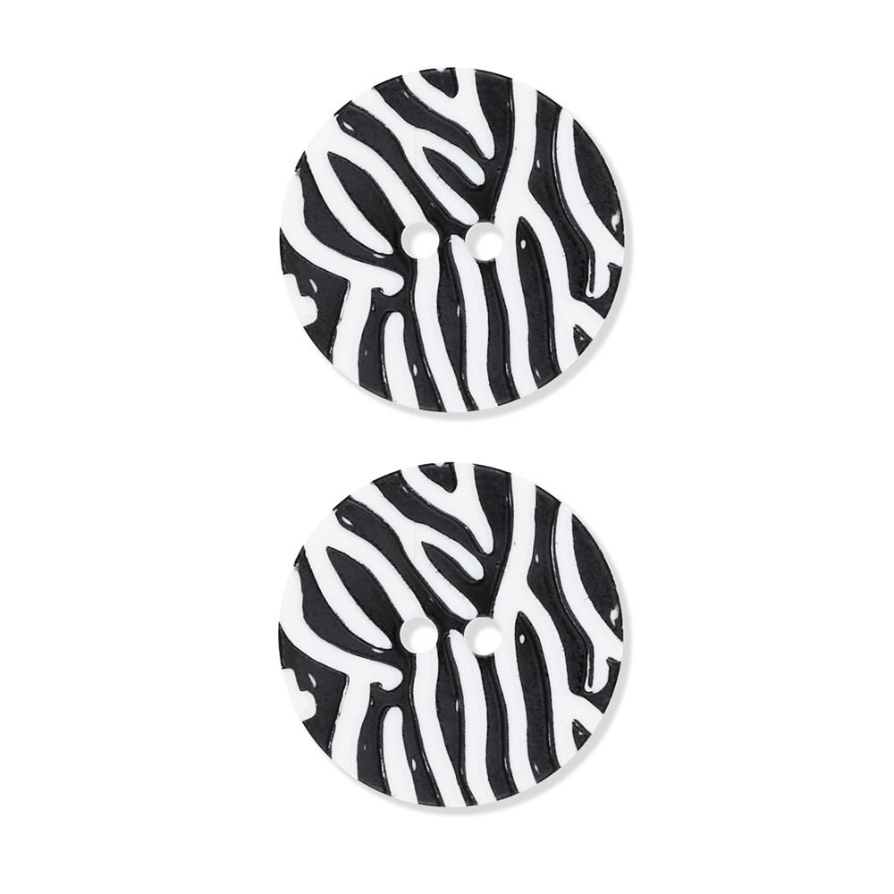 "Dill Novelty Button 1 1/8"" Black Stripe on White"