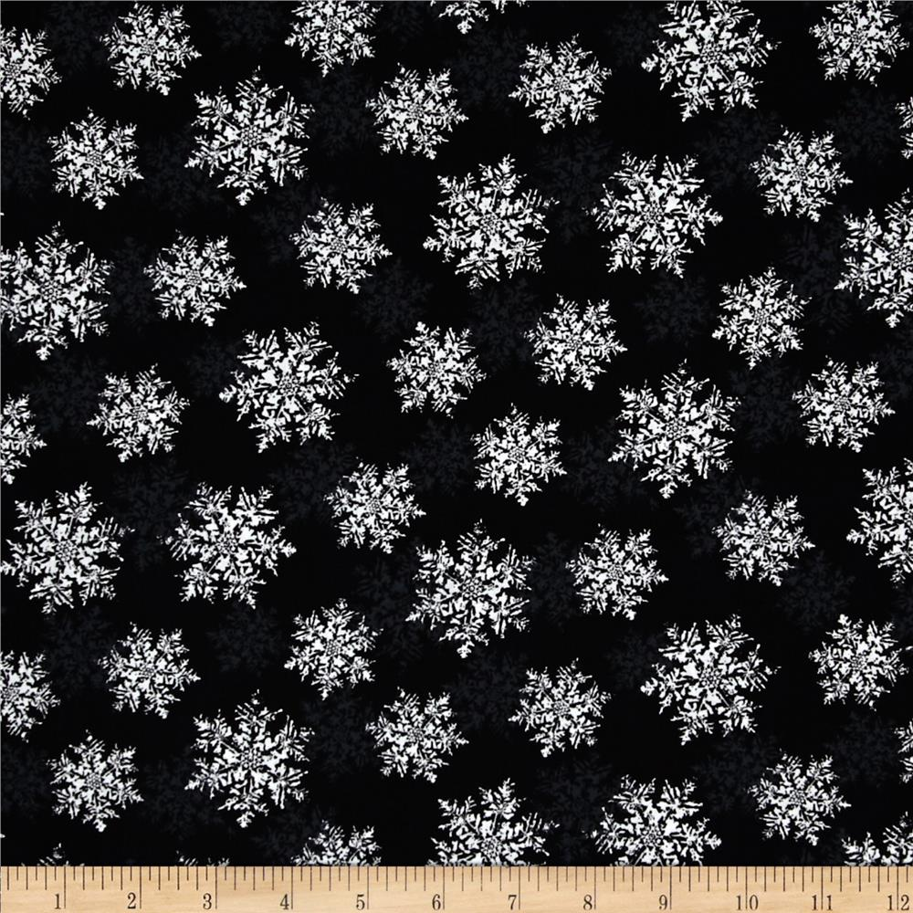 Seasons Greetings Snowflake Black