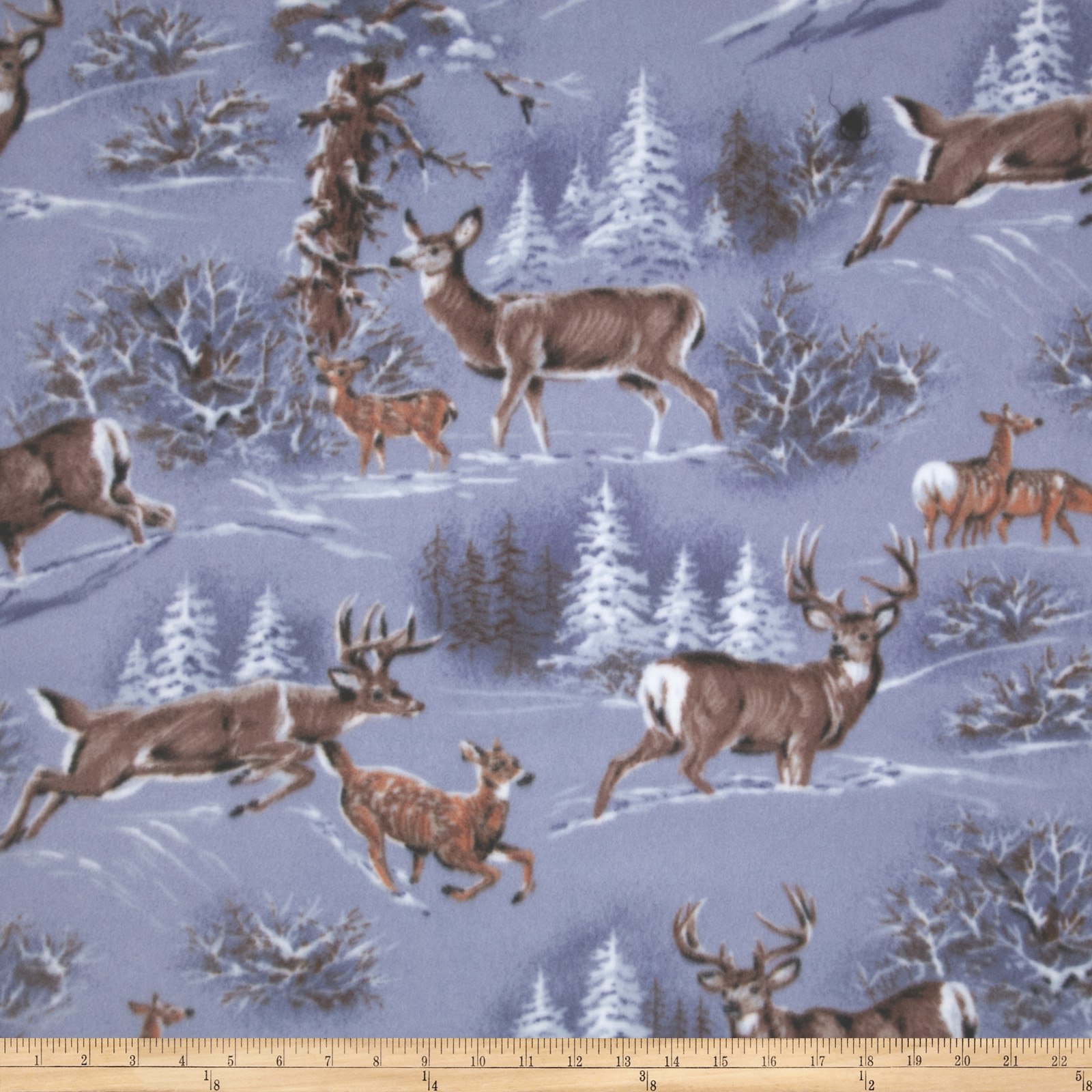 WinterFleece Deer in the Snow Fabric