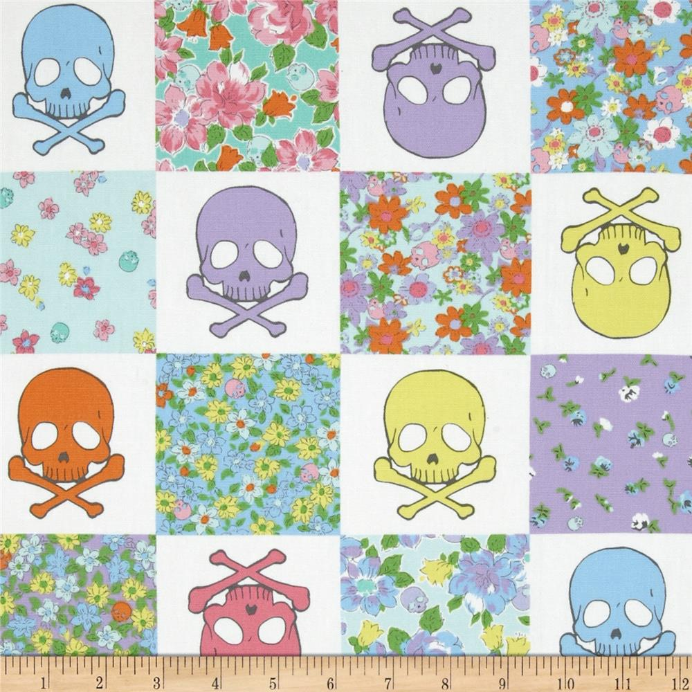 Kokka Skulls and Flowers White/Purple