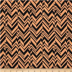 Poly Rayon Ponte Roma Knit Chevron Tan/Black