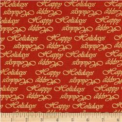 Poinsettia Glamour Metallic Words Red