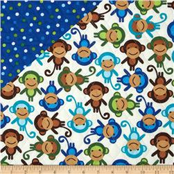 Urban Zoologie Double Faced Quilted Monkeys/Dots Multi Fabric