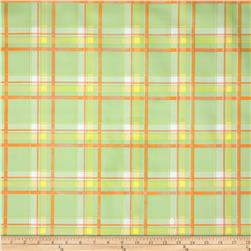 Oil Cloth Scottish Plaid Green Fabric