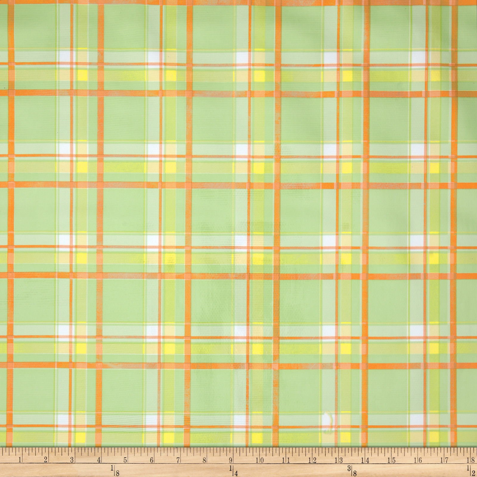 Oilcloth Scottish Plaid Green Fabric by Oilcloth International in USA