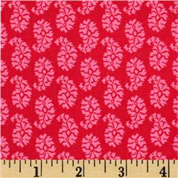 Joyful Leaf Paisley Pink on Red