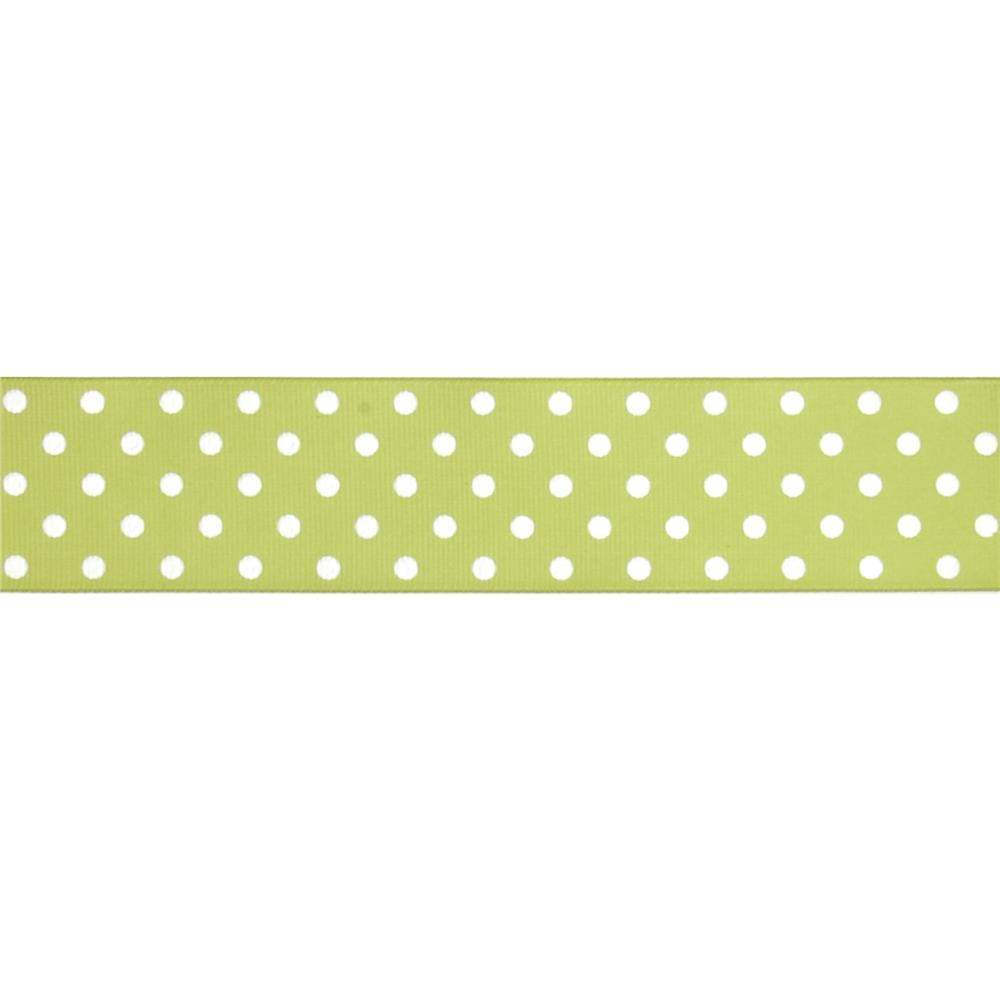 "May Arts 1 1/2"" Grosgrain Dots Ribbon Spool Light Green/White"