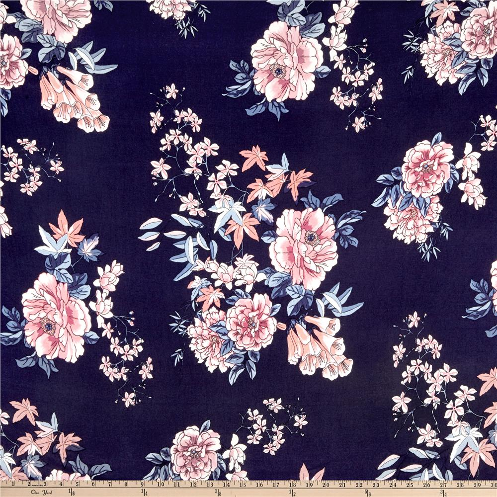 4ce5431d9e4 Double Brushed Poly Jersey Knit Floral Garden Navy/Mauve Fabric