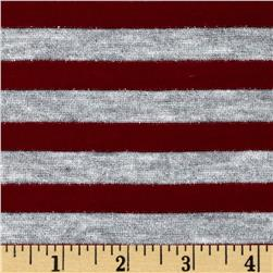 Yarn Dyed Jersey Knit Stripe Maroon/Grey Sparkle