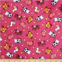 Minky Animal Farm Pink