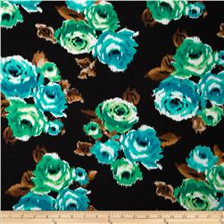 Stretch Rayon Jersey Knit Ikat Roses Black/Teal
