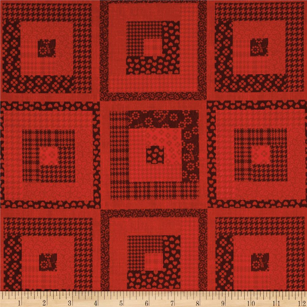 Peaceful gathering log cabin red discount designer for Where to order fabric
