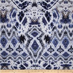 Cotton Spandex Jersey Knit Abstract Ikat Blue/Back/White