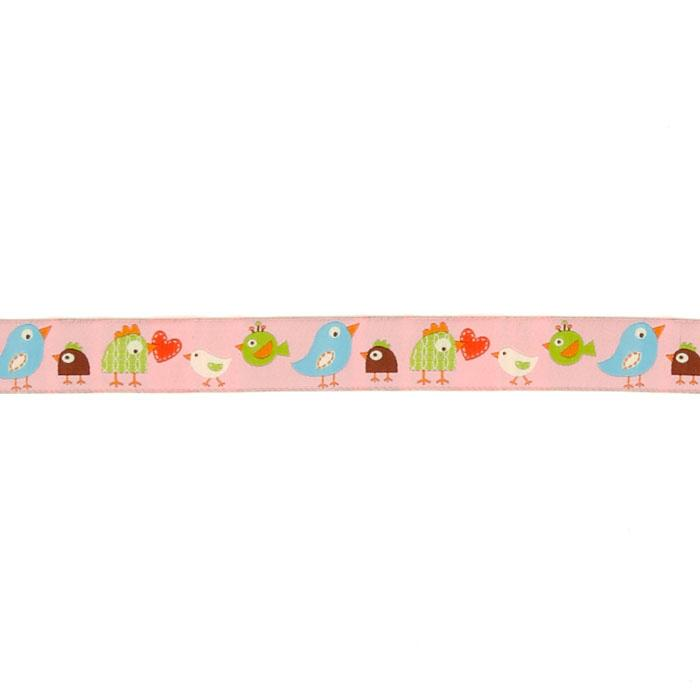 "7/8"" Dena Designs Happi Birds Ribbon Pink"