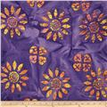 Indian Batik Large Floral Purple/Yellow/Peach