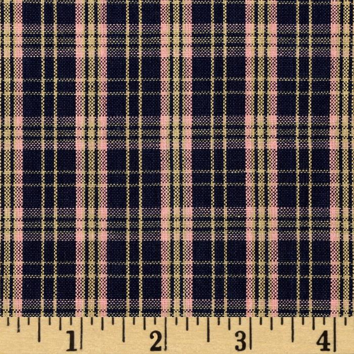 Homespun Yarn Dyed Plaid Shirting Navy/Pink
