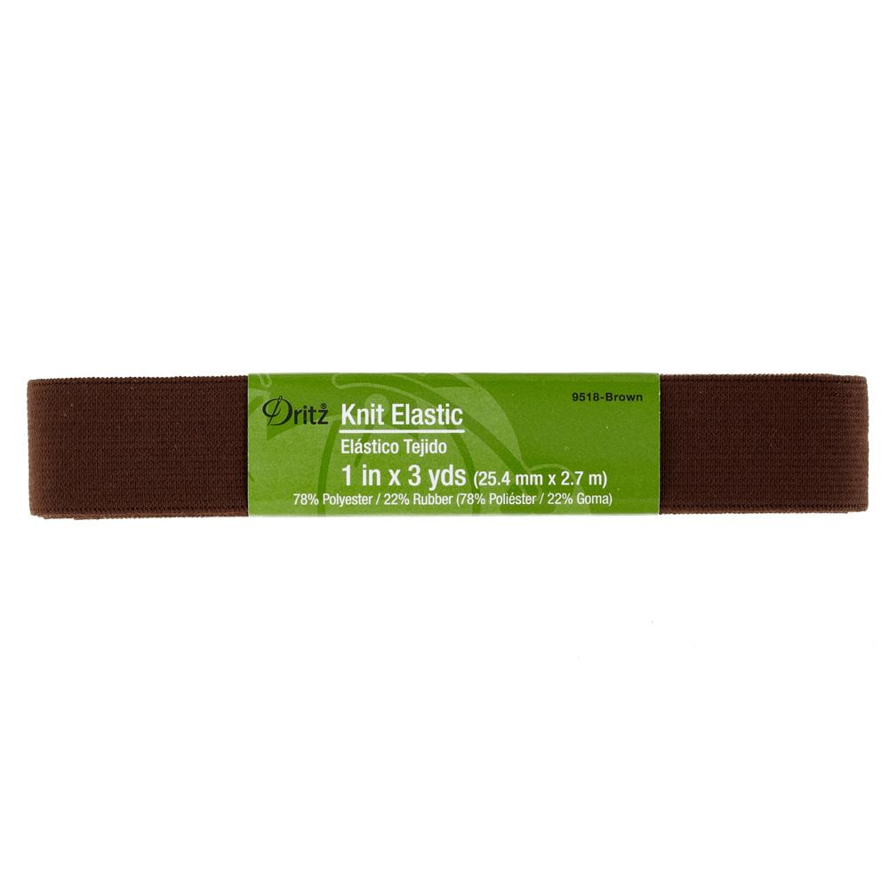 "1"" Dritz Knit Elastic Brown"