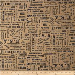 Moda Because of the Brave Words Burlap Navy