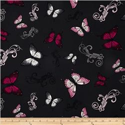 April's Garden Butterfly Allover Dark Grey