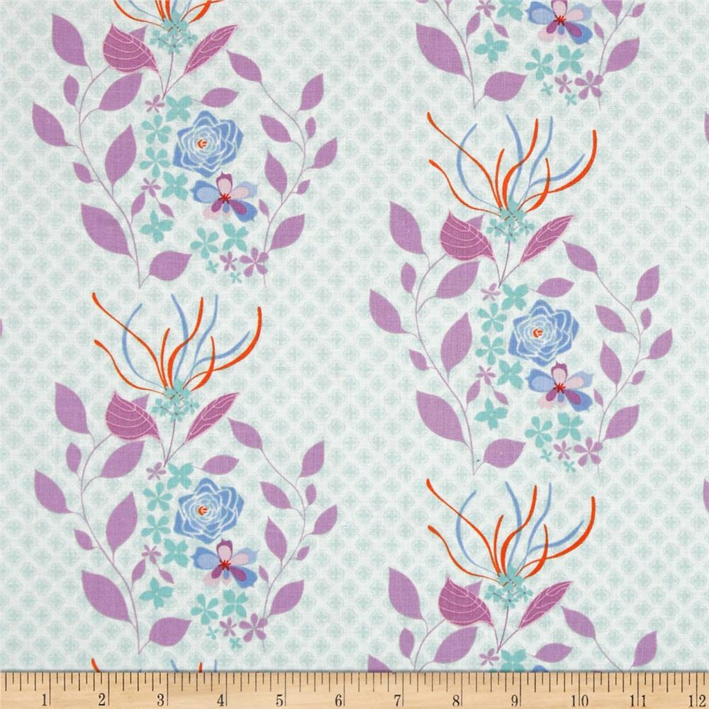Hot House Flowers Dainty Floral Stripe Blue