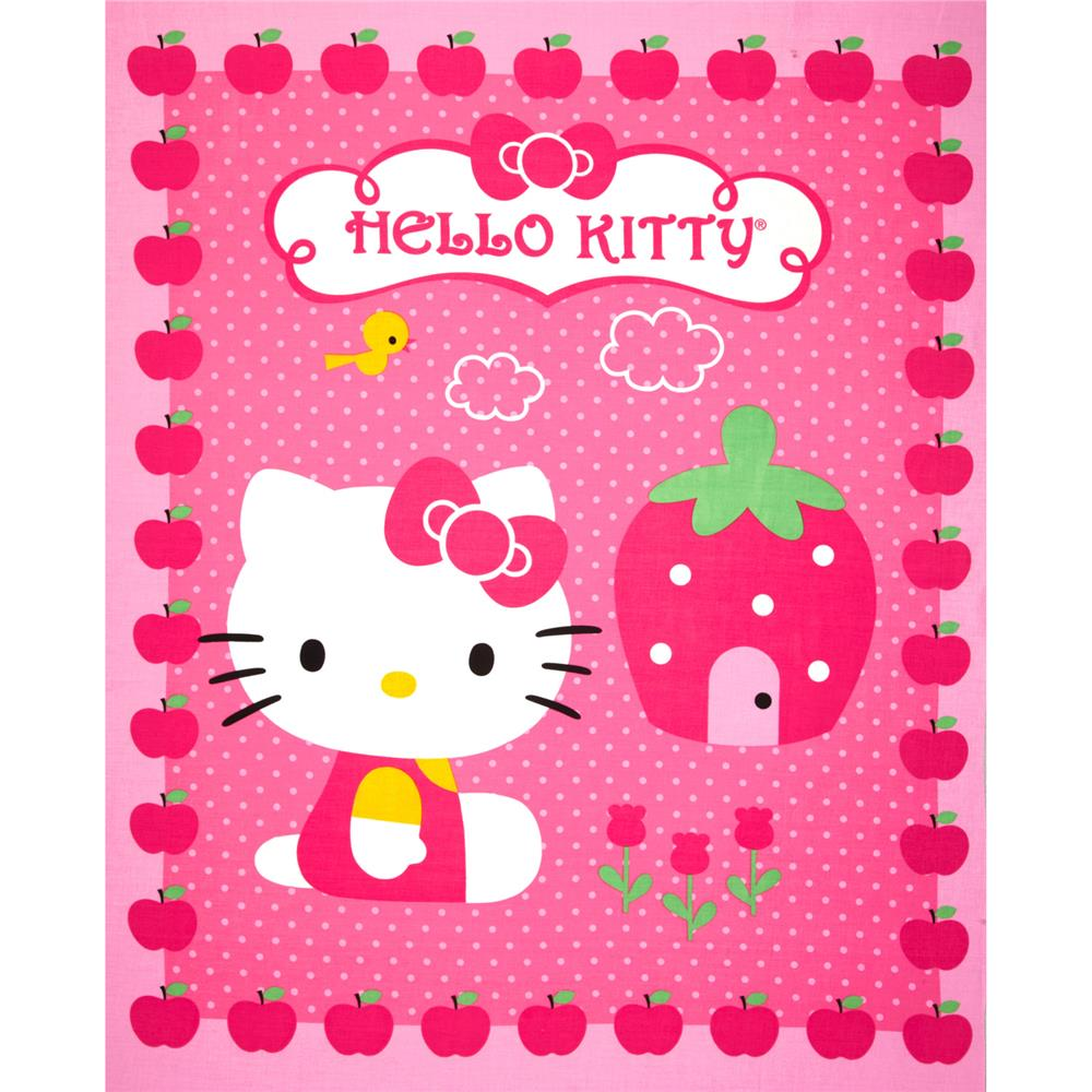 Hello Kitty Cupcake Panel Pink Discount Designer Fabric