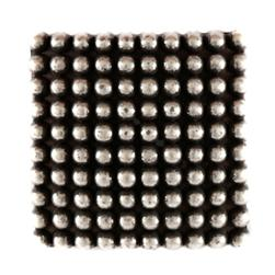 Metal Button 1 7/8'' Dotted Grid Silver Antique