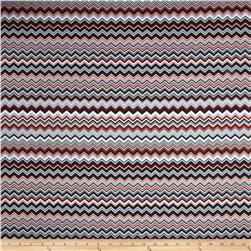 Chevron Flannel Red/Grey Fabric