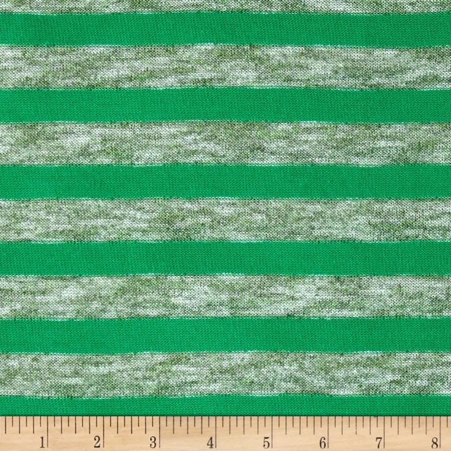 Lightweight Sweater Knit Small Shamrock Stripes on Green