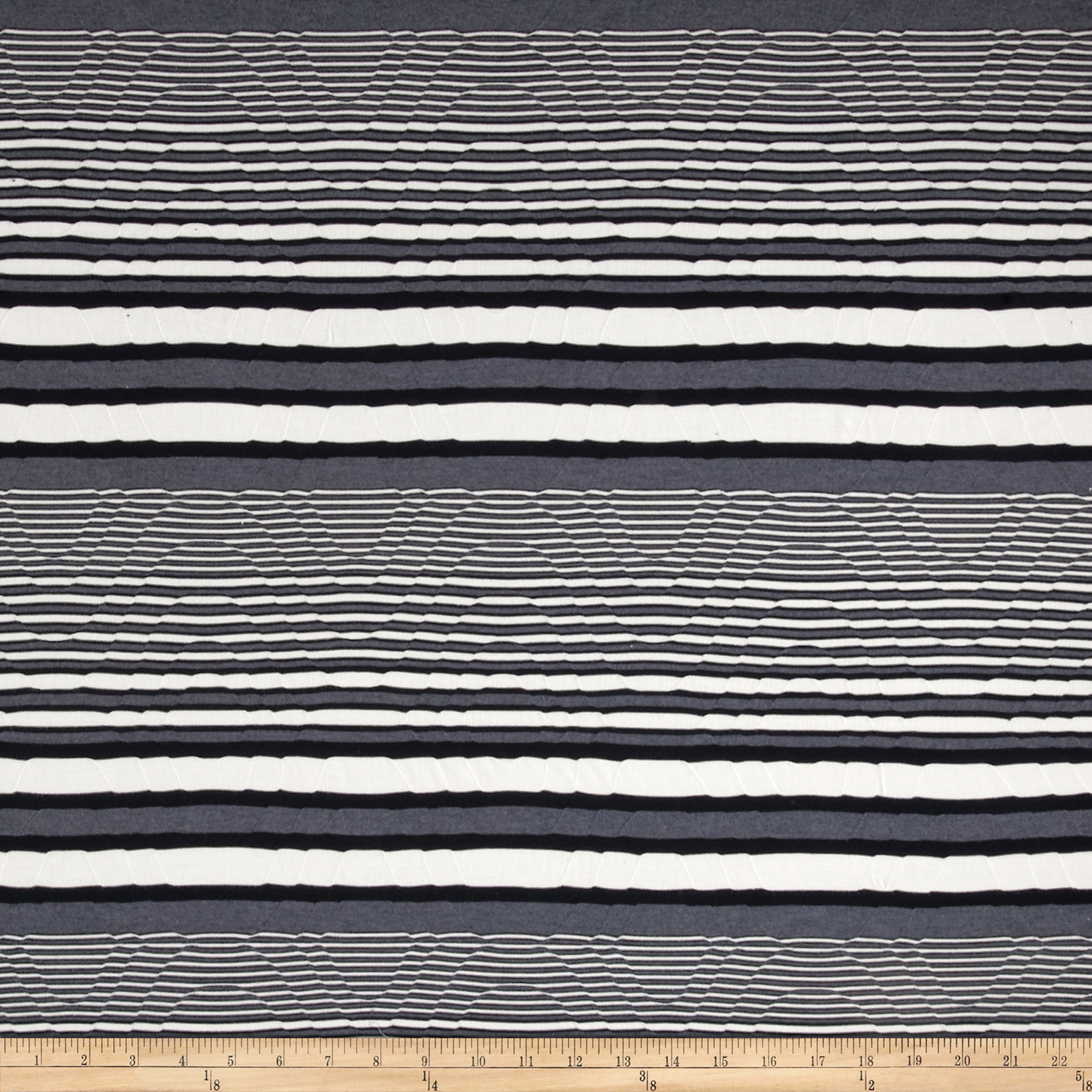 Essence Knit Stripe White/Black Fabric
